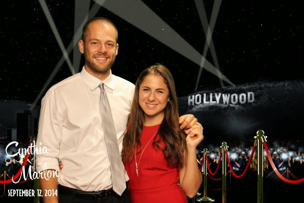 Green screen red carpet wedding photo booth