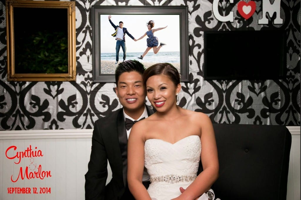Photo booth wall bride and groom