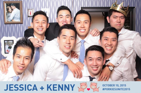 Photo booth wall with groomsmen
