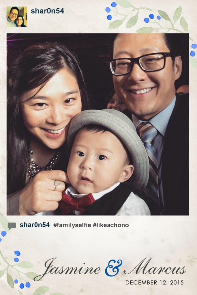 Instagram print of a young family with baby at a wedding #likeachono